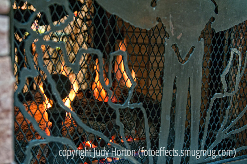 There is always a fire going in the huge fireplace at the mall.  I kind of liked the look of it behind the fire screen.  I exposed for the fire and had to lighten up the firescreen a lot to get it to show up properly.<br /> <br /> Thanks for the comments on my shot today.  Much appreciated!  I had plenty of time to look through all the shots tonight and there were so many that really inspired me!  Hope you all are having a good week!  Thanks, also, for all your good wishes on our upcoming adventures.