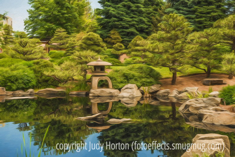 Japanese Gardens, Denver Botanic Gardens, with painterly effects