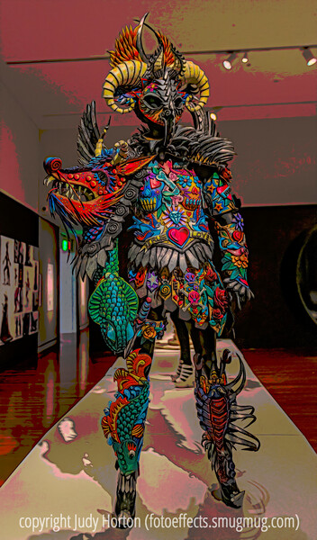 World of Wearable Art Exhibit at the Colorado Springs Fine Arts Center - a closer look at my personal favorite from the exhibit, which is made from EVA foam that has been cut, sculpted, painted and shaped with heat.  The exhibit at the Colorado Springs Fine Arts Center featured some winning entries from past years.  Last year's World of Wearable Arts Festival in Wellington, NZ featured entries from about 140 countries and was attended by over 60,000 people.
