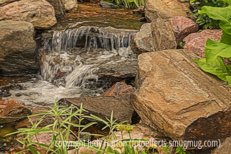 Small Waterfall at the Denver Botanic Gardens - various effects have been applied
