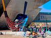 """Denver Art Museum; sculpture """"Big Sweep"""" by Claes Oldenburg"""