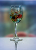 Wine Glass with Marbles and Water