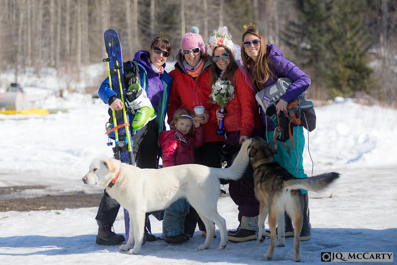 Bride crew assembling Sierra, Rhianna, Emily, Delia, Juniper, Inja and Baseball.