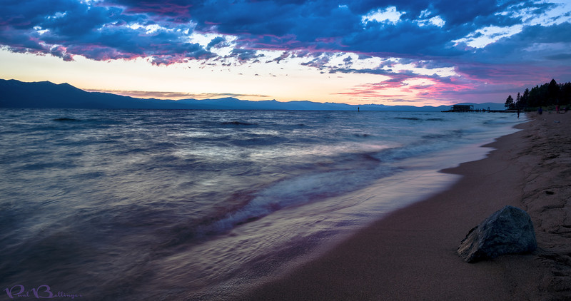 "Tahoe Eye Candy, Stateline NV<br /> <br /> I raced to the beach to catch the end of this sunset.  I had to run a long way in the sand and was completely out of breath when I shot this.  I only managed three shots before the color faded.  It was worth the run but I wish I had been there 30 minutes earlier!<br /> <br /> I was in Tahoe shooting Jeff and Mary's awesome Tahoe wedding.  It was a crazy few days but so much fun!   <a href=""http://www.paulbellinger.com"">http://www.paulbellinger.com</a><br /> <br /> Critiques are always welcome.<br /> <br /> Daily photo: August 24, 2013, taken Aug 8, 2013"