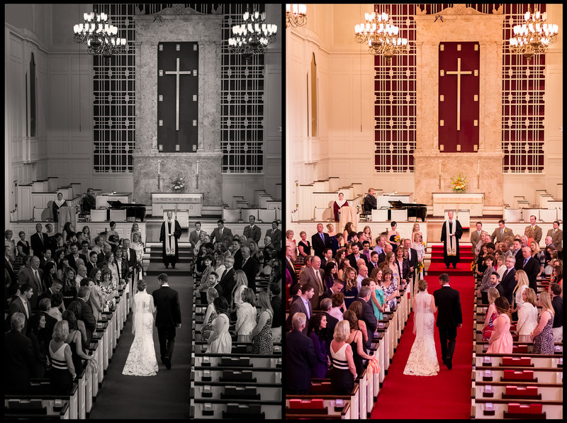 "Here Comes the Bride, Houston TX  Here's a before and after look at one of my favorite photos from Cara and Keyl's Houston wedding.  The wedding ceremony was held at the magnificent St. Lukes United Methodist church in downtown Houston.  The photo on the right was processed in Lightroom 4, where I tried to correct the color balance issue, but could never quite the color just right.  This church had natural lighting towards the altar, but it was filtered through stain glass and mixed with artificial light from above, creating a strange mix of colors.  So instead of spending too much time try to correct the color, I took it into Photoshop and created the black and white photo you see on the left.  What do you think?    I often write about my techniques, but now that I have Photoshop and know how to make collages with ease, I decided to show you.  I would say this is one of the more heavily processed of my wedding photos.  To me, the altar area is too bright in the original and it immediately attracts the eye to the piano player, and not Cara, the bride.  Since I want the bride to be the focus, I darkened everything in the photo except her.  Then I lightened up the cross and priest so that the eye is drawn to a vertical line leading from the bottom left rows of pews, all the way up to the top of the cross.  And of course I had to get rid of the chandelier in the top left corner.  That's my thought process, what is yours?  I was very lucky to assist the amazing <a href=""http://www.thesilhouettestudio.com"">Sarah Williams</a> and the Silhouette Studio for Cara and Keyl's Houston wedding.  Check out <a href=""http://www.thesilhouettestudioblog.com/2013/04/gardens-of-bammel-lane-houston-wedding.html"">Sarah's blog post</a> for more awesome photos from this wedding!  Critiques are always welcome.  Daily photo: May 7, 2013, taken April 20, 2013"