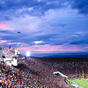 11/1/08<br /> USC homecoming game, they beat Washington 56-0. It had rained earlier in the day and I wasn't sure there was going to be much of a sunset, but it ended up being quite lovely. The sky really was this pink, although it wasn't quite this blue. The white balance for the stadium lights threw it off a little.