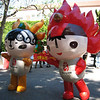 "4/14/08 Yingying and Huanhuan were on hand at UCLA to promote the Beijing Olympics. Who can even think about oppression and human rights violations when they're so cute!! Yingying represents an antelope, and Huanhuan represents the Olympic Flame. Read more on the <a href=""http://en.beijing2008.cn/spirit/beijing2008/graphic/n214068254.shtml"" target=""_blank"">official site</a>. It's certainly not the greatest photo in technical terms, but it was the most interesting thing I saw today."