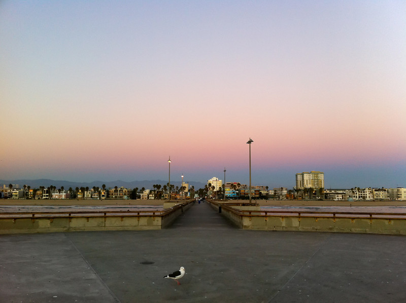 """<span id=""""date"""">_11/01/10_</span> <span id=""""title"""">Venice Dusk</span> Happy November! Today was the last full day my <a href=""""http://www.jawsnap.net/Daily/year2/7157835_BfJPF#749113464_xb6oq"""">sister</a> is in town, and I'd say we made the most of it. We grabbed coffee and danishes at <a href=""""http://www.labreabakery.com/"""">La Brea Bakery</a>, checked out the bubbling asphalt at the <a href=""""http://www.tarpits.org/"""">La Brea Tar Pits</a> and Page museum, did a little driving tour of Hollywood, ate lunch at <a href=""""http://www.pinkshollywood.com/"""">Pink's</a>, saw Mario Lopez taping Extra! at the Grove, bought far too much chocolate at the <a href=""""http://www.farmersmarketla.com/"""">Farmers Market</a>, toured the grounds of <a href=""""http://www.greystonemansion.org/"""">Greystone Mansion</a> and finally indulged in delicious garlic knots at <a href=""""http://www.cotrattoria.com/"""">C&O Trattoria</a> after catching the sunset on the Venice Pier, pictured here. Woo!  <a href=""""http://www.jawsnap.net/Daily/year2/7157835_BfJPF#700364108_43RAc"""">[last year]</a>"""