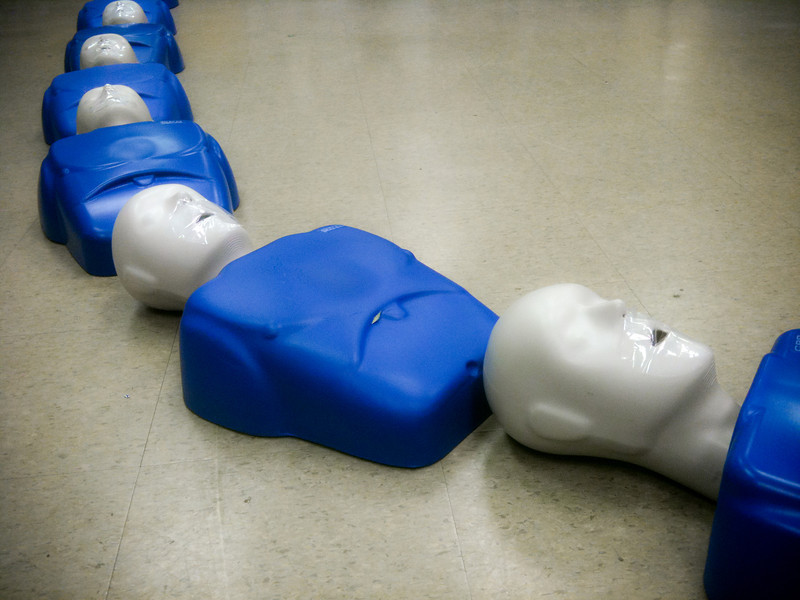 """<span id=""""date"""">_06/02/10_</span> <span id=""""title"""">Dummies</span> I took a CPR and first aid class today. It was a nice refresher and I learned some new things, too, like how to use an AED and administer an epipen. These are some of the CPR dummies before the class started. They looked even creepier when the trainers set the baby dummies next to them.  <a href=""""http://www.jawsnap.net/gallery/7157835_BfJPF#588255156_EebpA"""">[last year]</a>"""