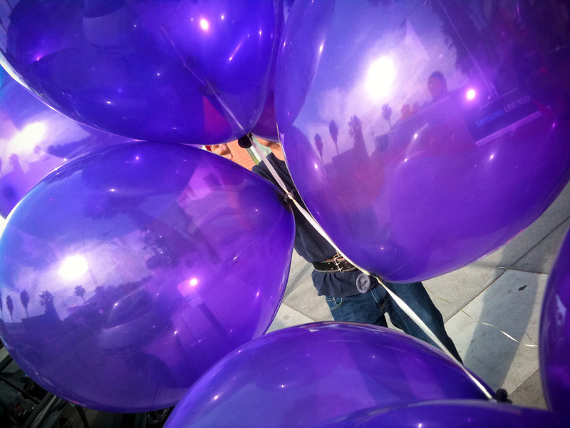 """<span id=""""date"""">_06/10/10_</span> <span id=""""title"""">Loser Balloons</span> Lakers lost tonight, so these balloons failed. I wish I'd spent a little more time, but it was a little awkward with the balloon guy working there - I suppose I should have just introduced myself. Anyways, I thought they were cool because they're so reflective. Most balloons seem to be matte.  <a href=""""http://www.jawsnap.net/Daily/year2/7157835_BfJPF#560547384_cqiGt"""">[last year]</a>"""