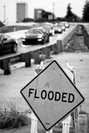 __02/07/12__ Flooded Where the 405 meets Wilshire. Flooded indeed.   [last year]
