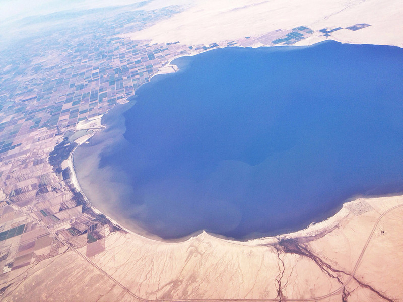 """2014-06-13<br /> Salton Sea<br /> Taken while flying back to Tucson today, after my dad underwent emergency surgery yesterday. He's """"fixed"""", but faces a long recovery. Thoughts and prayers appreciated."""