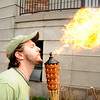 """Josh Maynard, a senior at CU in mechanical engineering, uses biodiesel made from cooking oil from the school to breathe fire on the CU Boulder campus on Earth Day, April 22, 2010. For more photos, or a video of the earth day festivities on campus visit  <a href=""""http://www.dailycamera.com"""">http://www.dailycamera.com</a><br /> Stephen Swofford  / For The Camera"""