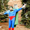 """Scot Woolley, dressed as Captain Planet, sets up a whimsical display of underwear from the past 200 years demonstrating """"proof of global warming"""" on the CU Boulder campus on Earth Day, April 22, 2010. For more photos, or a video of the earth day festivities on campus visit  <a href=""""http://www.dailycamera.com"""">http://www.dailycamera.com</a><br /> Stephen Swofford  / For The Camera"""