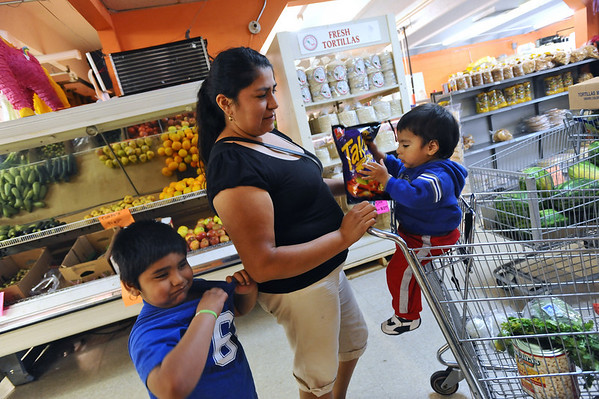 HISPANIC<br /> Aurora Torres shops at AB Fruiteria with her sons Benjamin, 6, and Alvaro, 1.<br /> Photo by Marty Caivano/Camera/Sept. 2, 2010