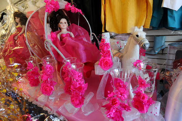 HISPANIC<br /> Quinceanera decorations on display at Novedad Latina.<br /> Photo by Marty Caivano/Camera/Sept. 2, 2010