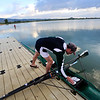 ROWING<br /> Victor Tagliavia, an assistant coach with Boulder Community Rowing, puts his boat in the water for training at the Boulder Reservoir on Tuesday morning. Many rowers are working out in anticipation of the Boulder Sprints, a rowing regatta taking place later this month.<br /> Photo by Marty Caivano/June 14, 2011