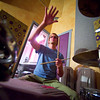 F0812SAMPLES07.jpg F0812SAMPLES07<br /> Jeep MacNichol of The Samples works through the changes of one of their songs during their rehearsal at Skytrail Recording Studio to prep for their appearance at the Mile High Fest.<br /> <br /> Photo by: Jonathan Castner