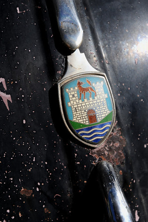 BARTVW<br /> The hood ornament of a 1958 Beetle belonging to Bart Dunn of Erie.<br /> Photo by Marty Caivano/Camera/Aug. 10, 2010