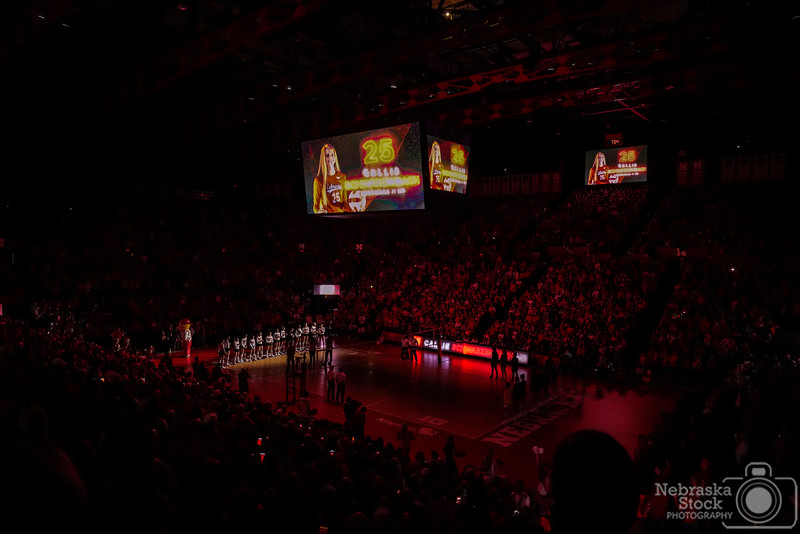 11-24-2108<br /> <br /> 328/365<br /> <br /> The Lady Huskers took on Maryland on senior night in Lincoln. <br /> <br /> Photo taken with a Sony A7rIII with a Sony FE 24-105<br /> <br /> ISO 6400<br /> <br /> 1/1250th at F4<br /> <br /> Picture No. 220789