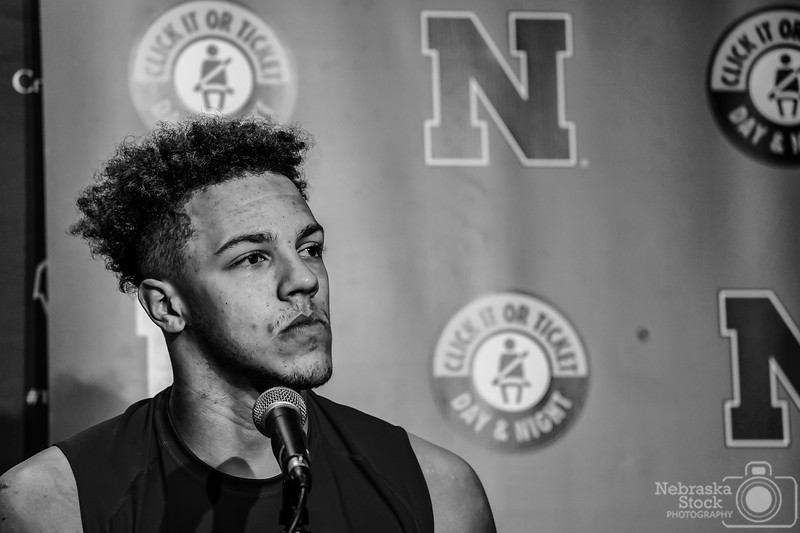 10-6-2018<br /> 279/365<br /> Nebraska's quarterback, Adrian Martinez, takes questions from the press Saturday night after the Cornhuskers lose to Wisconsin. Hats off to this kid for taking some pretty serious questions and handling them like a pro only at the age of 18. <br /> Photo taken with a Sony A9 with a Sony FE 100-400<br /> ISO 2500<br /> 1/400th at F5.6<br /> Picture No. 175713
