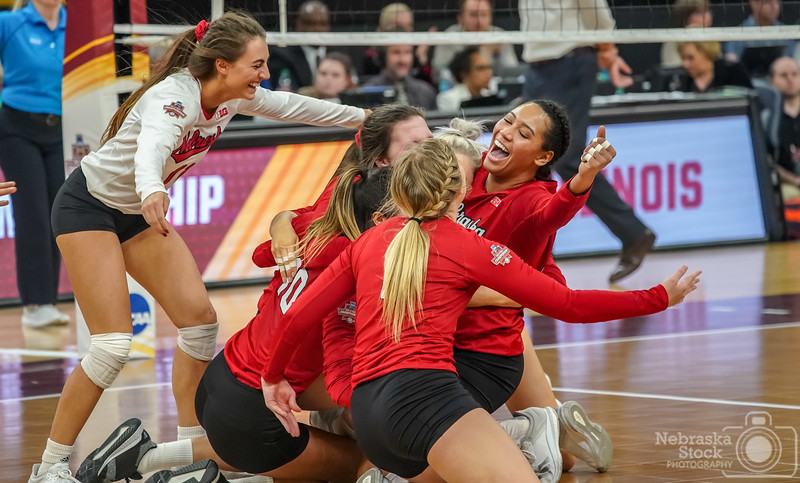 12-13-2018<br /> <br /> 347/365<br /> <br /> The Nebraska Huskers celebrate an amazing comeback win over Illinois in the semifinal round of the NCAA Volleyball Final Four. <br /> <br /> Photo taken with a Sony A9 with a Sony 100-400<br /> <br /> ISO 5000<br /> <br /> 1/800th at F5.6<br /> <br /> Picture No. 227068