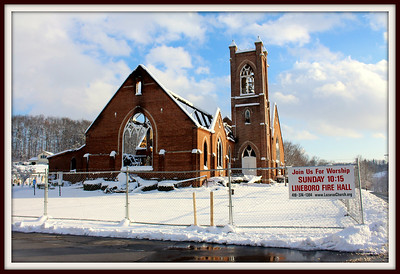 December 12, 2013  It wasn't until this past weekend that I was able to take photos of the Lazarus Church.  The newly fallen snow seemed to make the charred remains of the church even more devestating.  The Carroll Eagle reports:  The damage from an early Tuesday 12/3/13 morning blaze at the Lazarus Church in Lineboro has been deemed so excessive that a cause for the fire cannot be determined, according to a news release Thursday from the Maryland State Fire Marshal.  Fire officials said the fire started in the attic space above the sanctuary. Further examination has concluded that $4 million in damage was done to the structure and its contents.  The church, built in 1908, housed the congregations of the Lazarus United Church of Christ and Lazarus Lutheran Church, which were formed in 1853.  A two-alarm fire at Lazarus was discovered by neighbors at 4:11 a.m. Tuesday. Nearly 60 firefighters from Carroll and Baltimore counties, as well as York County, Pa., responded and had the blaze under control in two hours.  No injuries were reported.  On its Facebook page Thursday, Lazarus Church announced that beginning Sunday worship services will be held at the Lineboro Fire Hall.  The investigation was jointly handled by the Maryland State Fire Marshal's Office and the Bureau of Alcohol, Firearms, Tobacco and Explosives.  Copyright 2013 - Carroll Eagle, Westminster, Md.  http://www.firehouse.com/news/11268222/cause-of-4m-lineboro-md-church-fire-undetermined