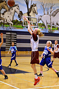 December 16, 2014  Saturday we were able to go see my niece play basketball.  I didn't realize how much I missed shooting sports until I was court side :)  This is Maggie taking a shot, she made the basket but the team wasn't able to pull out a win.