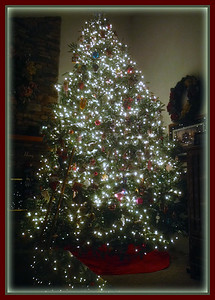 December 14, 2014  Not happy with this photo at all.  I need to read up on how to photograph a Christmas tree because this surely isn't the way.  With that in mind…this is the finished product of our 14 foot tree.  Hopefully I can figure out how I can photograph what I see.