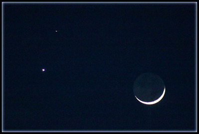 February 21, 2015  The Moon, Mars and Uranus. A crisp clear night, the calm before the storm. More snow headed our way.
