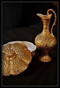 "February 22, 2015  Sunday ""Still Life Challenge"" Week #3  This Weeping Bright Gold pitcher and candy dish circa 1950s - 1960s were given to me by my husband's grandmother 15 years ago.  The Weeping Bright Gold pattern is named for the look of gold oozing out of the flat gold back ground color."