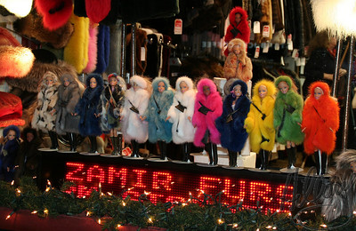 12/15/07 - A 2 hour drive and we were in Manhattan today. After a museum, a meal and on the way to a movie I saw this window display... Good for Barbie!!! She has lots of choices to keep warm... I hope PETA doesn't catch her!!!