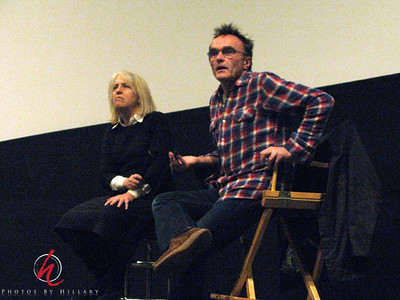 Post 339 11/19/08  A grainy, high ISO, shot of film director, Danny Boyle during a Q&A after a screening of his new film, Slumdog Millionaire! Very interesting and entertaining film shot in India!