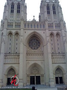 Post 354 12/09/08  Shot from my iPhone. This was the front of the National Cathedral. Such a beautiful and impressive edifice! Really outstanding. With the iPhone I was only able to get back this far in the time I had to shoot it. I was not able to get the turrets at the top. If I ever finish editing the rest of the photos I will have one that I took with the G9 that is more complete.   Thanks again for all your comments on my shots of the Rotunda in The Capitol building. Also, I never really had a chance to comment much on my shot with Annie Leibovitz. It really, really was a thrill to actually meet her. She was so patient and gracious to each person who came up to have her sign  their books. I love looking at her signature in my book. These kinds of events with Q&A's after and book signings are really fun to have a moment with the artist!