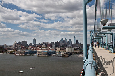 Post 727 9.5.10  A view of Philadelphia from the Benjamin Franklin Bridge. Walking from Philadelphia to Camden, NJ on the bridge was really quite thrilling...a bonus for a fun day!  Have a good Labor Day holiday everyone!
