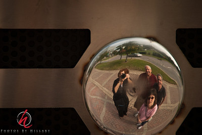 Post 894  9.24.11   Getting back to Nashville... This is a shot of the 4 of us when we were riding around Nashville and stopped at Music Row.. This is a button on the front of a giant microphone that was there!  We are off to see movies in Center City..here is a quick link to the full size image:http://www.photosbyhillary.com/Travel/USA/2011-Nashville-and-Family/19147360_BW5bLP#1491603924_khm6Drz