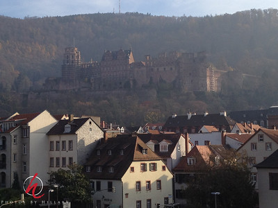 Post 928 11.20.11  Another photo from Heidelberg, Germany. We have so loved being in this charming fairy-tale city! It is beautifully nestled into this valley. If you look carefully up on the hillside you will see the amazing  Heidelberg Castle. We rode up there in a Funicular to walk around and explore!