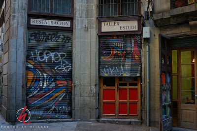 Post 1005 5.2.12 Another shot from Barcelona...love the colorful graffiti in the old city..  Thank you for your comments on yesterday's shot. I have to say i was pretty amazed at the detail and clarity picked up with the little SONY NEX 5N. I had bought it before the trip and it was my only camera besides my iPhone.