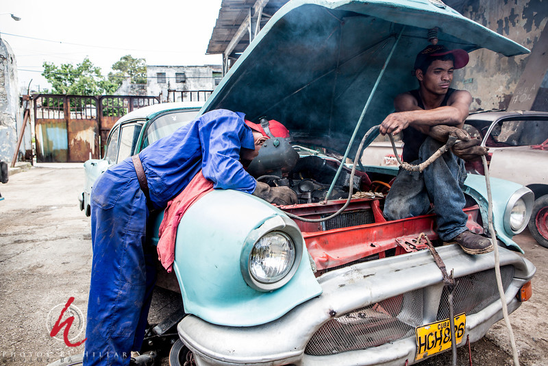 """<font size=""""4""""><font color=""""Yellow"""">Post 1050   15/365 1/15/2014 - Car repair.. Cuban Style!   It was very interesting to see the art of the Cuban fix on this car… It is incredible to see how they have been able with so little to maintain  the enormous amount of cars from the 50s and even 40s running strong on the streets and roads of Cuba!   Posting early today as I have a big PhillyPAC (Photographers Action Club) studio workshop to run tonight and will be home late ( we were orginally a SMUG --> SmugMugUsersGroup)"""
