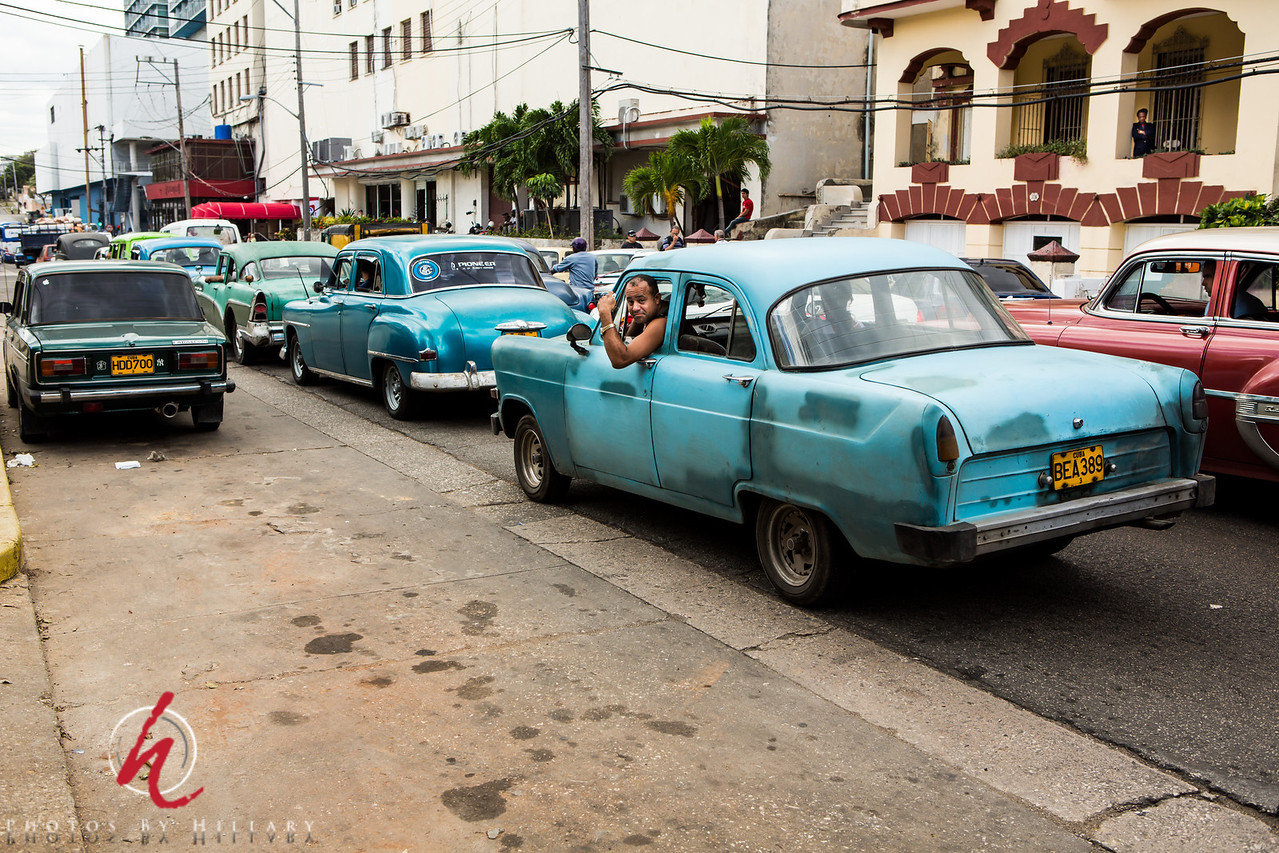 """<font size=""""4""""><b><font color=""""Yellow"""">Daily Post 1141-  107/365   4/17/2014 -Havana traffic jam!   Back to my Cuba photos…a busy street corner had the cars backed up and waiting!   Thank you for your comments on my little newborn photo from yesterday. She was just barely a week old. So tiny…a real privilege to be asked to photograph this fleeting stage of life!"""