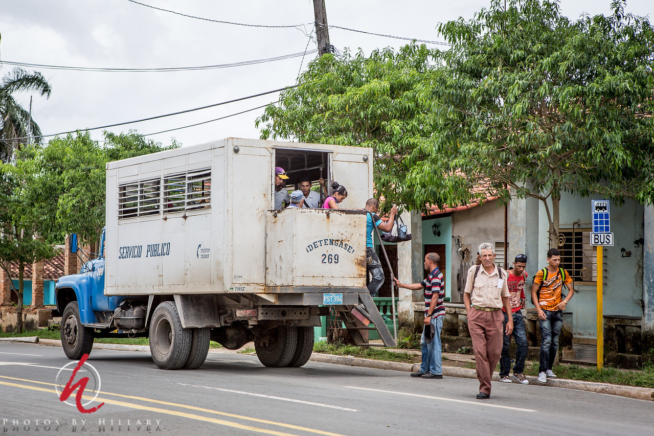 """<font size=""""4""""><b><font color=""""Yellow"""">Daily Post 1114-  80/365   3/21/2014 - Bus Stop - This was a local bus, not the bus I wrote about that we did not take from Viñales to Havana. I was fascinated that this was a 'city' bus. It was so hot there last June, I don't think I could have tolerated riding on this bus with all the passengers packed in and so little air. Very tough life in many ways.   Thank you for your supportive comments on my photo yesterday of Hersis and the situation with Cubataxi. I shared the link to that photo on Facbook and both of the fellows with whom we shared the taxi shared the link on their FB walls..They are from London so happy that the word is getting spread..even a little!  Have a great weekend everyone!"""