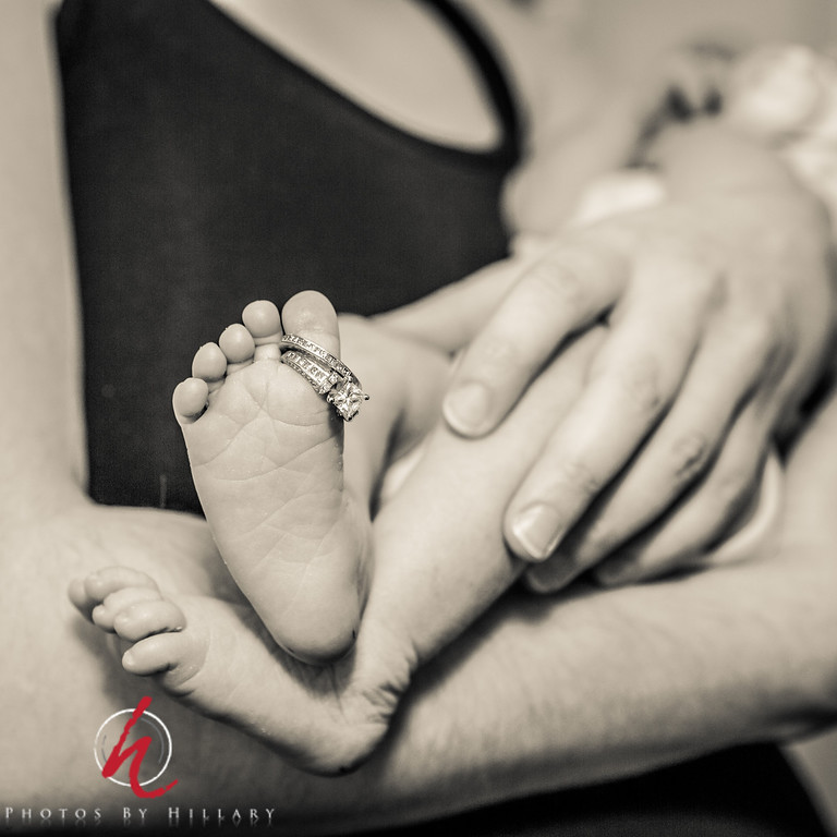 "<font size=""4""><b><font color=""Yellow"">Daily Post 1140-  106/365   4/16/2014 - Gives some perspective, doesn't it?   I had the great privilege to photograph a one week old baby and her parents today…With mom's wedding rings on her big toe we have all we need to get an idea of how tiny and precious a baby of just under 7 pounds is.   It has been a long busy day today so can't write more, but thank you all from the bottom of my heart for you wonderful comments and responses to the photos I had printed and that are framed in our dental office. They certainly are great icebreakers for conversation when people come to my room!  Thanks again!"