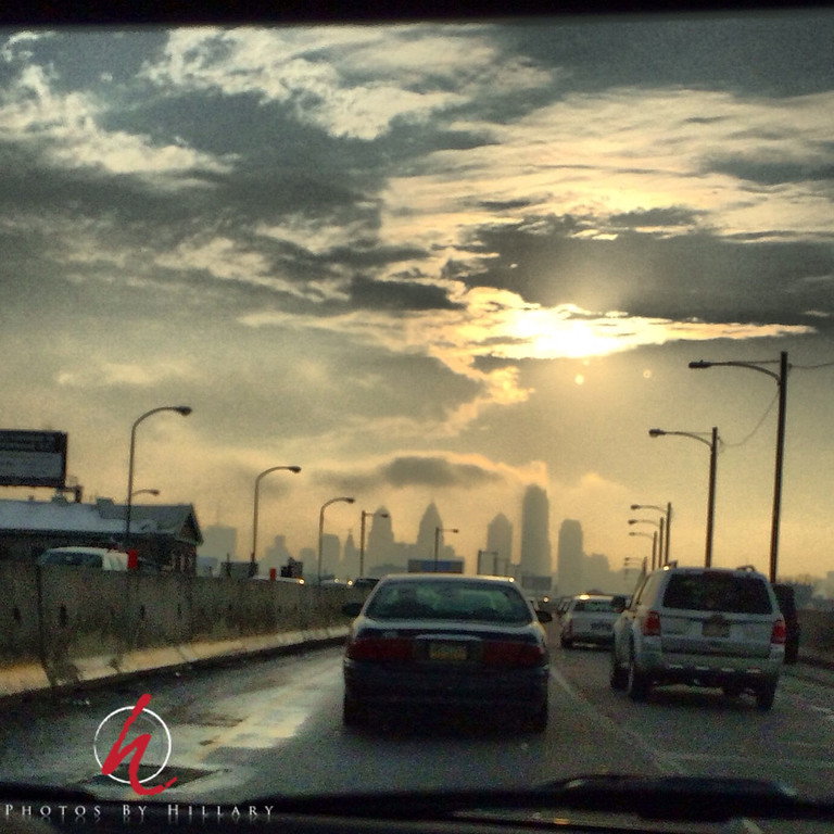 "<font size=""4""><b><font color=""Yellow"">Post 1085  50/365  2/19/2014 - Heading into Philadelphia (I was not the driver!)   This was an iPhone shot that was edited in Instagram this evening. I just got home from our PhillyPAC (formerly Philly SMUG) meeting in Center City. I took this on the way into the city this evening and was intrigued by how the skyline looked as the sun finally came out and the haze gave such an ominous look to the skyscrapers.. I didn't want to let a day go by if I could help it post a photo and this was all I had time for tonight!  Thank you so much for your many wonderful comments on my stage shot of Seth Walker in concert. I just love when I can get those kinds of shots! Nighty night…must get to sleep now! I hope I'll have some time to browse the dailies and see some of your pics over the weekend!"