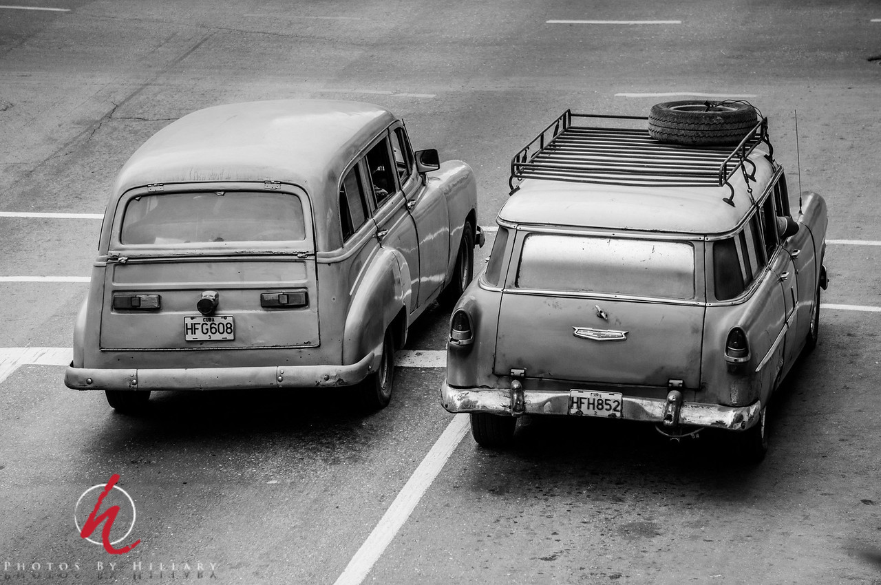 Daily Post 1145-  111/365   4/21/2014 - Step back in time to black and white.  <br /> <br /> While looking through my Cuba shots again I wondered what these old cars would look like as black and white images. Though I love the different colors of the cars in Cuba I felt this treatment really brought us back to the kind of life they lived in…This quick processing really made it more real..<br /> <br /> Thank you all for your many nice comments on my recent posts. Wonderful to read.. It's late and I can hardly keep my eyes open…. Long day! G'night… Zzzzzzz