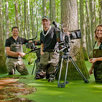 L-R: Mark MacEwen, Me and Lydia Baines filming wood ducks for the BBC. Elliott's Mill Pond, SC.