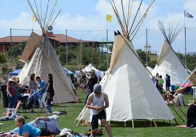 Some sleep in indian teepee's during the 12 annual Topanga Earth Day 2011 at the Topanga Community House Fair Grounds that runs over the weekend. Topanga CA. April 23,2011.  Photo by Gene Blevins/LA Daily News