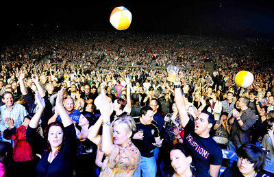 A estimated crowd of 18,000 fans rock out to Journey as they perform at the Hollywood bowl Tuesday night during their 2011 tour. Hollywood CA. Oct 11,2011. Photo by Gene Blevins/LA DailyNews