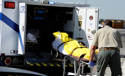Two people -- a man and woman -- riding on their motorcycle on the northbound I-5 at Branford Street in Sun Valley were involved in collision with a large truck on Sunday, Oct. 23, 2011. The bike's driver possibly had a heart attack and both driver and passenger on the bike died at the scene during the start of the 28th annual Love Ride. (Gene Blevins/Los Angeles Daily News)