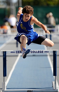 Agoura Hills high Jonathan Cabral competes in the boys 300 meter inter hurdles during the 2010 CIF southern section Toyota track & field division finals at Cerritos Collage. Norwalk CA. May 22,2010. Photo by Gene Blevins/LA Daily News
