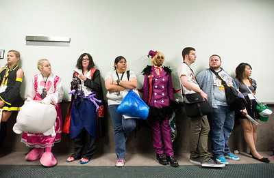 Attendees fill the halls of the Los Angeles Convention Center, waiting in line for a voice acting seminar at the 2011 Anime Expo, which kicked off on Friday, July 1, 2011. The four-day convention is the largest in the U.S., drawing tens of thousands, and is organized by the Society for the Promotion of Japanese Animation (SPJA).  (Maya Sugarman/Staff Photographer)